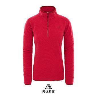 Polaire 1/4 zippée Polartec® femme 100 GLACIER rumba red/cerise pink stripe