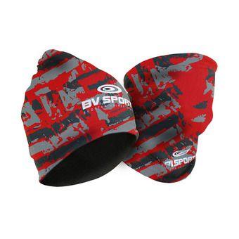 Bv Sport MULTIFONCTION ARMY - Bonnet noir/rouge
