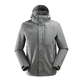 Veste à capuche homme TRACK ZIP-IN heather grey