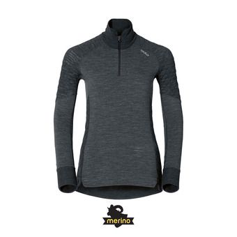 Odlo NATURAL + X-WARM - Camiseta térmica mujer black heather