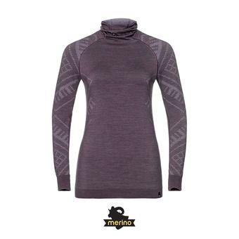 Camiseta térmica con pasamontañas mujer NATURAL + KINSHIP WARM vintage violet melange