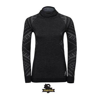 Odlo NATURAL + KINSHIP WARM - Camiseta térmica mujer black heather