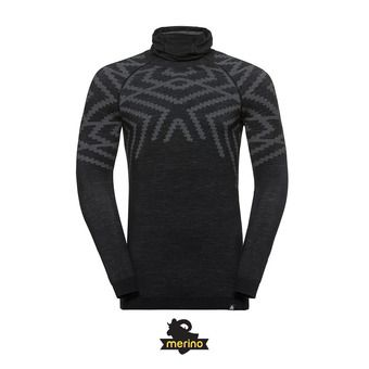 Odlo NATURAL + KINSHIP WARM - Camiseta térmica hombre black heather