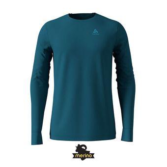 Camiseta térmica hombre NATURAL MERINO WARM blue coral/grey melange