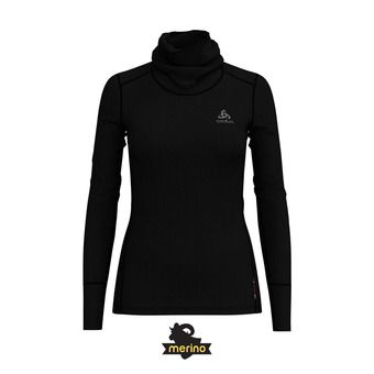 Odlo NATURAL MERINO WARM - Camiseta térmica mujer black/black