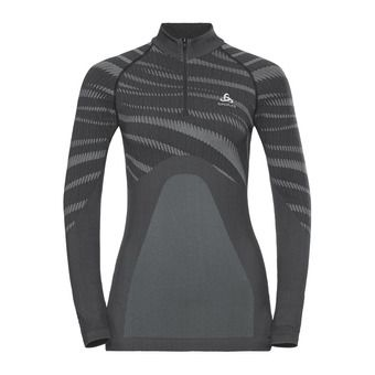 Sous-couche ML 1/2 zip femme PERFORMANCE BLACKCOMB black/concrete grey