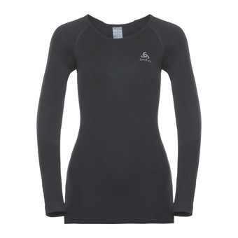 Odlo PERFORMANCE WARM - Camiseta térmica mujer black/odlo concrete grey
