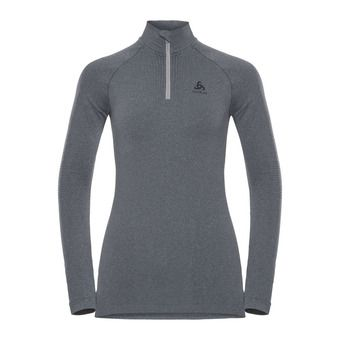 Sous-couche ML 1/2 zip femme PERFORMANCE WARM grey melange/black