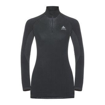 Odlo PERFORMANCE WARM - Camiseta térmica mujer black/odlo concrete grey