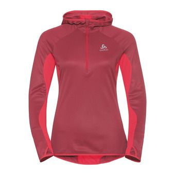 Sweat 1/2 zip à capuche femme BLAZE ZW CERAMIWARM rumba red/hibiscus/stripes