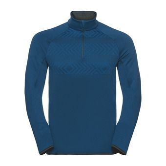 Odlo CARVE WARM KINSHIP - Sweat Homme blue opal/placed print