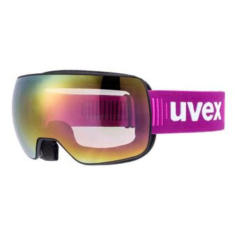 Uvex COMPACT FM - Masque ski black mat/mirror pink/clear