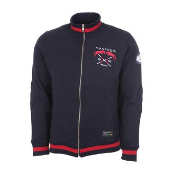 Bomber Sweatshirt Jacket - RIVERSIDE navy/red