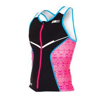 Maillot trifonction zippé sans manches femme RACER black/pink/atoll