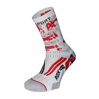 Chaussettes de running RSX EVO COLLECTOR ARMY blanc/rouge