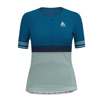 Odlo ZEROWEIGHT CERAMICOOL - Camiseta mujer mykonos blue/surf spray/diving navy