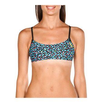 Top de bikini mujer BANDEAU PLAY turquoise/multi-black