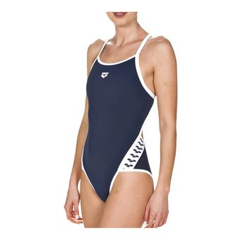 Arena TEAM STRIPE SUPER FLY BACK - Maillot de bain 1 pièce Femme navy/white