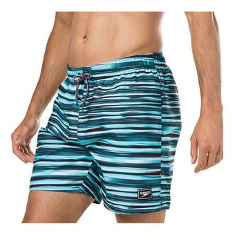 Short de bain homme PRINTED LEISURE black/blue/white