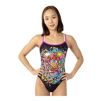 Speedo HIPPY CHICK DREAMS PLACEMENT - Maillot de bain 1 pièce Femme black