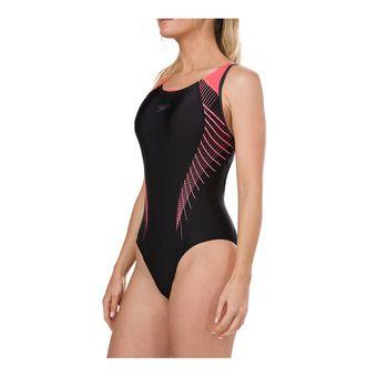 Speedo FIT LANEBACK - 1-Piece Swimsuit - Women's - black/red/grey