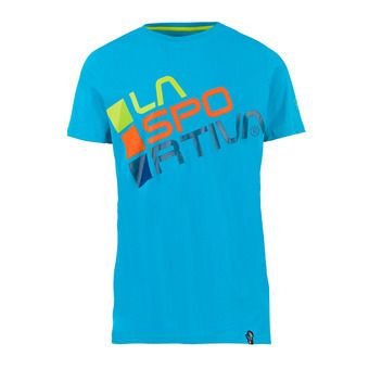 La Sportiva SQUARE - Tee-shirt Homme tropic blue/apple green