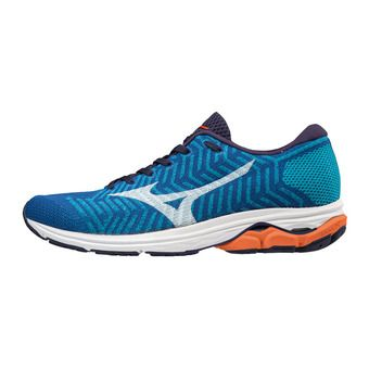 Mizuno WAVEKNIT R2 - Chaussures running Homme nautical blue/white/red orange