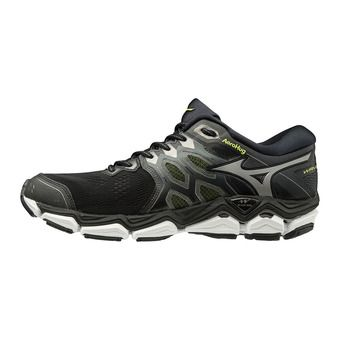 Mizuno WAVE HORIZON 3 - Chaussures running Homme black/met shadow/safety yellow