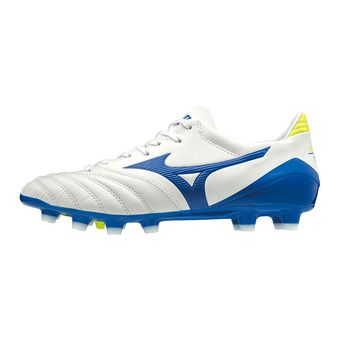 Mizuno MORELIA NEO KL II - Botas de rugby white/wave cup blue/safety yellow