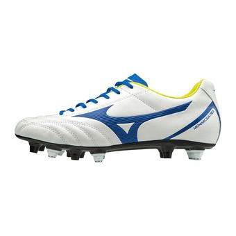 Mizuno MONARCIDA NEO SELECT MIX - Scarpe con tacchetti da rugby white/mazzarine blue/safety yellow