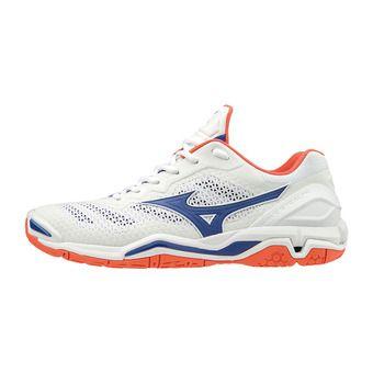 Mizuno WAVE STEALTH V - Chaussures hand Homme white/reflex blue/nasturtium