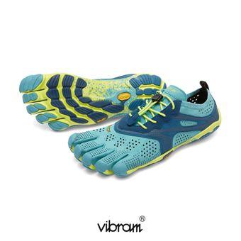Zapatillas 5 dedos mujer V-RUN turquesa/marino/amarillo
