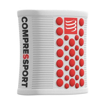 Compressport SWEAT 3D.DOTS - Poignets-éponges blanc/rouge