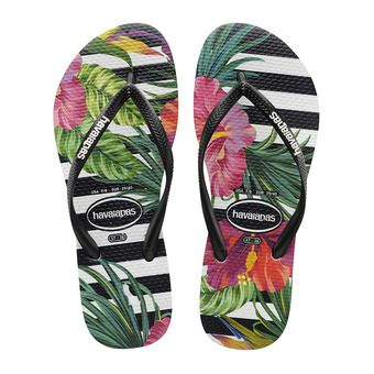 Havaianas SLIM TROPICAL - Chanclas mujer floral black/black/imperial palace