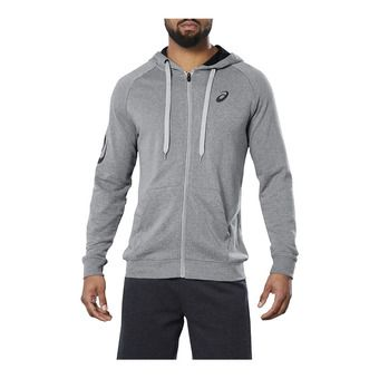BIG ASICS FZ HOODIE MID GREY HEATHER/DARK GREY Homme