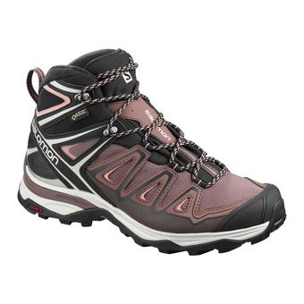 Salomon X ULTRA 3 MID GTX - Zapatillas de senderismo mujer peppercorn/black/coral almond