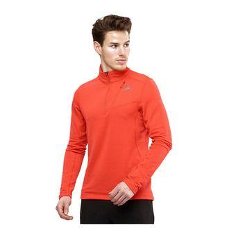 Salomon GRID FZ - Sweatshirt - Men's - fiery red