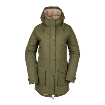 Volcom WALK ON BY 5K - Parka Donna army green combo