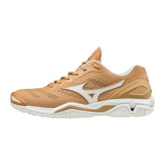 Mizuno WAVE STEALTH V - Chaussures handball Homme sheepskin/wht/indiantan