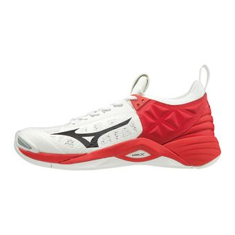 Mizuno WAVE MOMENTUM - Chaussures volleyball wht/blk/highriskred