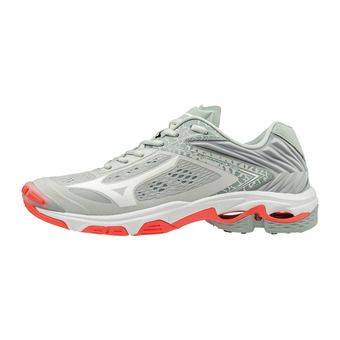 Mizuno WAVE LIGHTNING Z5 - Chaussures volleyball Femme glaciergray/wht/fierycor