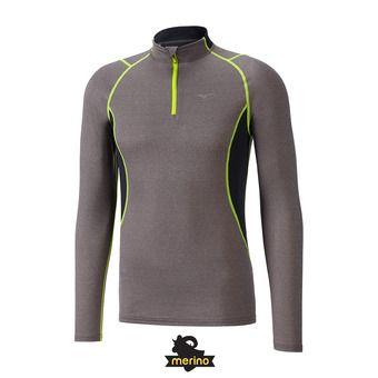 Mizuno WOOL H/Z - Camiseta térmica hombre finegrey/s.yellow
