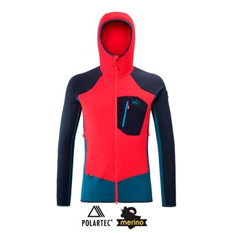 Millet TRILOGY DUAL WOOL HOODIE - Polaire Homme indian/rouge