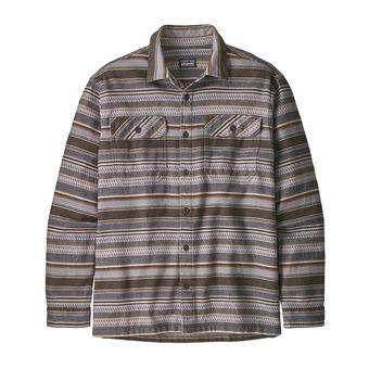 M's L/S Fjord Flannel Shirt Homme Folk Dobby: Bristle Brown