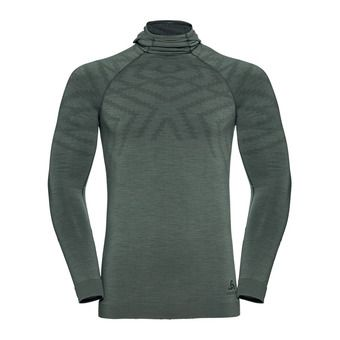 T-shirt ML capuche NATURAL KINSHIP Homme agave green melange