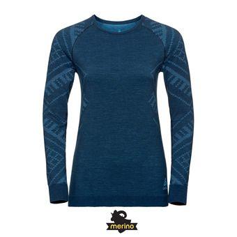 Odlo NATURAL KINSHIP - Sous-couche Femme blue wing teal melange
