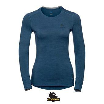 Odlo NATURAL 100% MERINO - Camiseta térmica mujer blue wing teal/grey melange