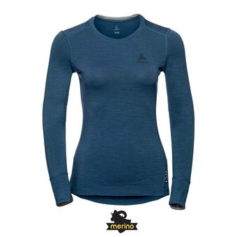 Odlo NATURAL 100% MERINO - Sous-couche Femme blue wing teal/grey melange