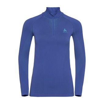T-shirt ML 1/2 zip PERFORMANCE WARM Femme clematis blue - niagara
