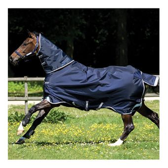 Horseware RAMBO DUO - Couverture de paddock 400g 2 en 1 navy/sky blue/brown